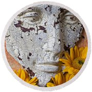 Cracked Face And Sunflowers Round Beach Towel