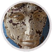 Cracked Face On Blue Wall Round Beach Towel