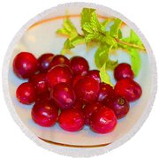 Cranberries And Mint Round Beach Towel