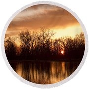 Crane Hollow Sunrise Before The Storm Round Beach Towel