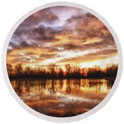 Crane Hollow Sunrise Boulder County Colorado Hdr Round Beach Towel by James BO  Insogna