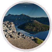 Crater Lake Afternoon Round Beach Towel