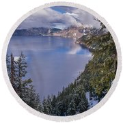 Crater Lake And Approaching Clouds Round Beach Towel