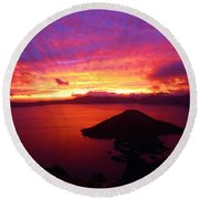 Crater Lake Fire In The Sky Round Beach Towel