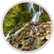 Crater Lake Waterfall Round Beach Towel