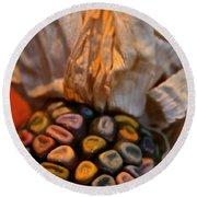 Crazee Corn Colors Round Beach Towel
