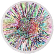 Crazy Daisy Colored Pencil Photoart Round Beach Towel