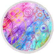 Crazy Flower Garden Round Beach Towel