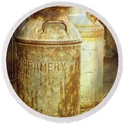 Creamery Cans In 1880 Town No 3098 Round Beach Towel