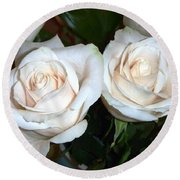 Creamy Roses I Round Beach Towel