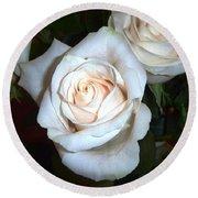 Creamy Roses IIi Round Beach Towel