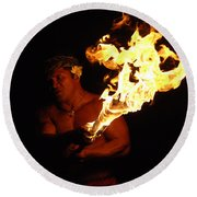 Creating With Fire Round Beach Towel