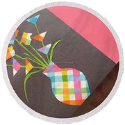Creative Mind Unfolds  Round Beach Towel