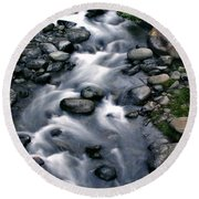 Creek Flow Panel 3 Round Beach Towel