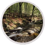 Creek In Woods, Cloughleagh, County Round Beach Towel