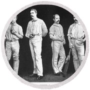 Cricket Players, 1889 Round Beach Towel