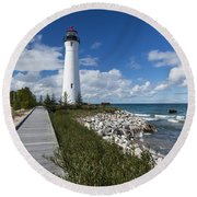Crisp Point Lighthouse 10 Round Beach Towel
