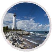 Crisp Point Lighthouse 11 Round Beach Towel