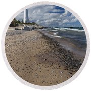 Crisp Point Lighthouse 14 Round Beach Towel