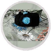Crochet Camera Bw Round Beach Towel