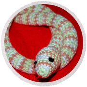 Crochet Snake In Red Round Beach Towel