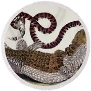 Crocodile & Snake Round Beach Towel
