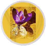Crocus Graphic  Round Beach Towel