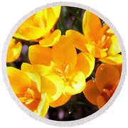 Crocuses In Yellow Round Beach Towel