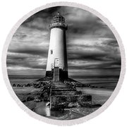 Crooked Lighthouse Round Beach Towel by Adrian Evans