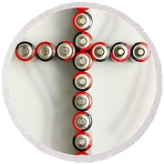 Cross Batteries 1 A Round Beach Towel