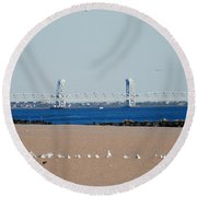 Cross Bay Bridge Round Beach Towel