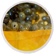 Cross Section Of A Cut Papaya With The Fruit And The Seeds Round Beach Towel