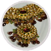 Cross Section Of A Purple And Yellow Gold Beautiful Necklace Round Beach Towel by Ashish Agarwal