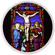Cross Stained Glass Round Beach Towel