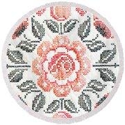 Cross Stitch Roses Round Beach Towel