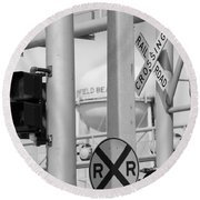 Crossing Signs In Black And White  Round Beach Towel
