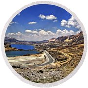 Crossing The Andes 2 Round Beach Towel