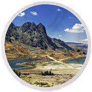 Crossing The Andes Round Beach Towel