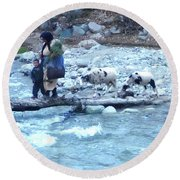 Crossing The Ourika River Round Beach Towel