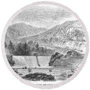 Croton Dam, 1860 Round Beach Towel