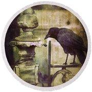 Crow On Iron Gate Round Beach Towel