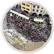 Crowd Forms At Clock Tower - Prague Round Beach Towel