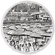 Crowded Beach Black And White Round Beach Towel