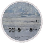 Crowded Shore Round Beach Towel