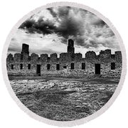 Crown Point Barracks Black And White Round Beach Towel