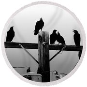 Crows And Insulators On Route 66 Round Beach Towel