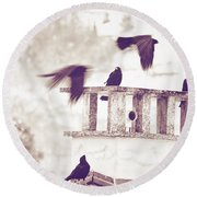 Crows On A Roof Round Beach Towel by Silvia Ganora