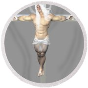Crucified Albinic Round Beach Towel
