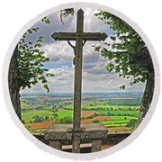Crucifix Overlooking The French Countryside Round Beach Towel