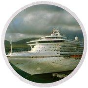 Cruise Ship In Port Round Beach Towel